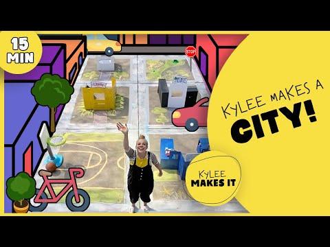Kylee Makes a City   DIY Sidewalk Chalk, Sidewalk Paint, & Cardboard City!   Summer Kids Art Video