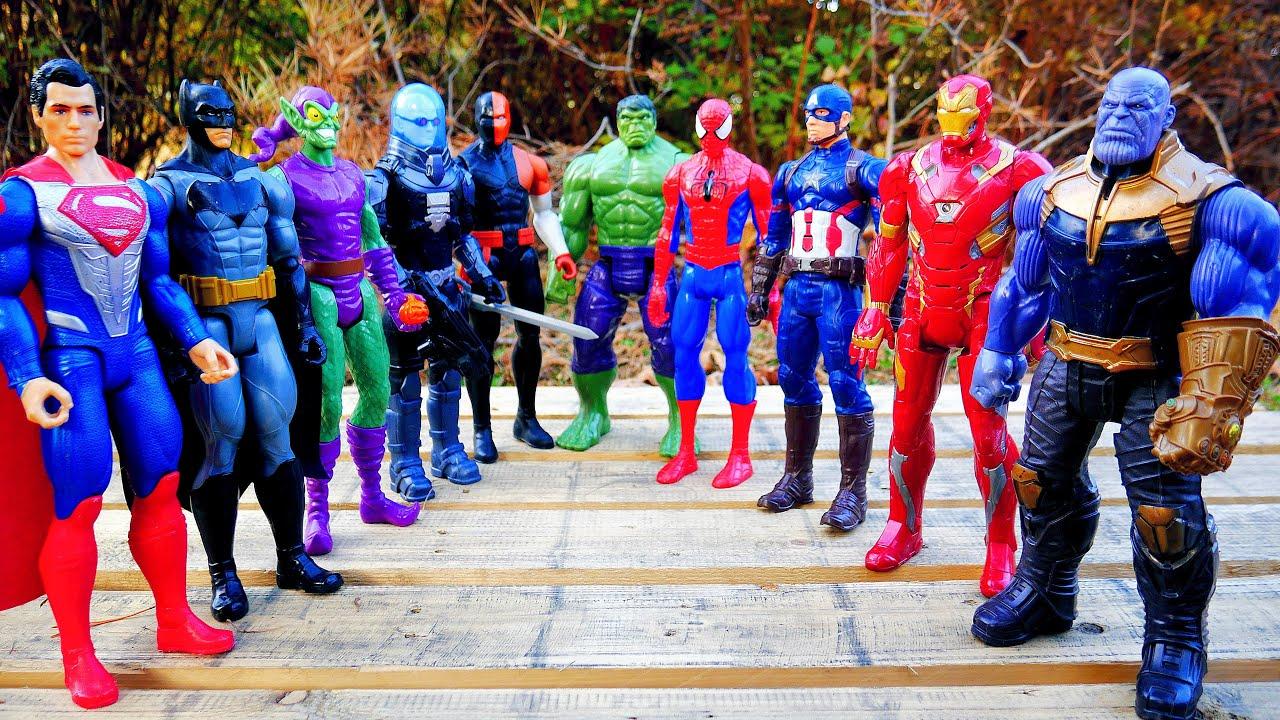 Marvel's Spider-Man vs Thanos + Hulk, Superman, Captain America, Iron Man - Marvel vs DC Superheroes