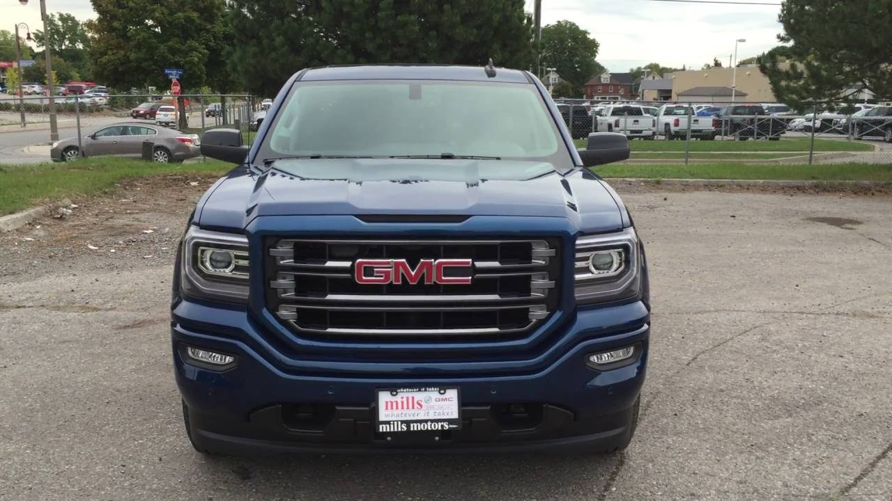 2017 gmc sierra 1500 slt 4wd double cab leather upholstery blue oshawa on stock 170141 youtube. Black Bedroom Furniture Sets. Home Design Ideas
