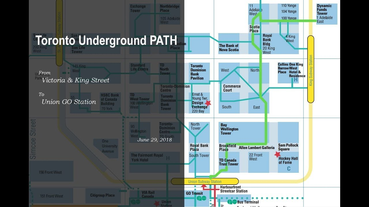 Toronto Underground PATH - From Victoria & King Street to Union GO on union street station map, seattle link light rail station map, 30th street station map, wa state ferries map, london subway map, reston town center map, beacon hill map, diridon station map, armenia map, joint base anacostia bolling map, amtrak map, king street grille, church street station map, pioneer square map, london euston train station map, heathrow airport map, lasalle street station map, liverpool city map, kings cross london map, seattle train station map,
