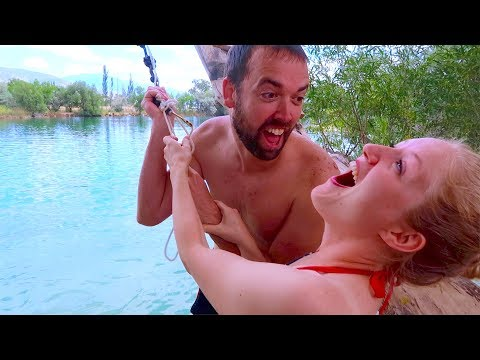 AWESOME ROPE SWING MONA UTAH BURRASTON PONDS! 4K