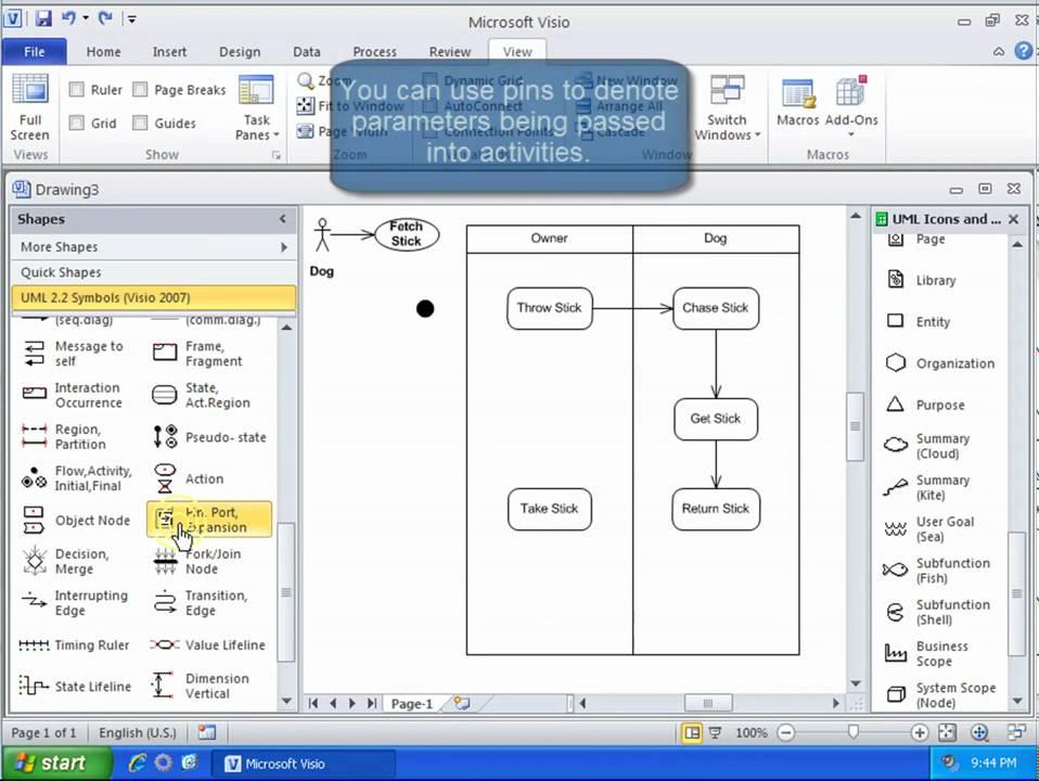UML Tutorial: Activity Diagram with Visio 2010  YouTube
