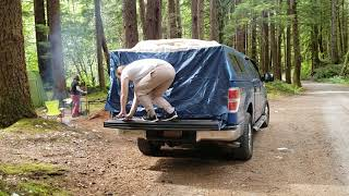 Setting up the DAC full sized truck camping tent