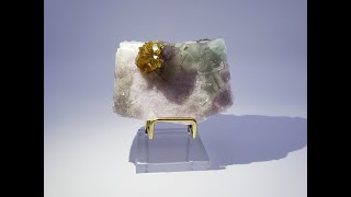 Barite (Baryte) on Rainbow Fluorite Mineral Specimen for Sale from Xiefang Mine, Jiangxi, China