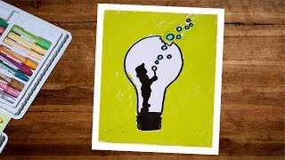 Creative Drawing - How To Draw a Bulb With Boy Using Oil Pastel - Children Freedom Drawing