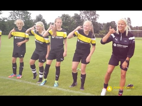 Pernille Harder Football Camp dancing with Razak Pimpong