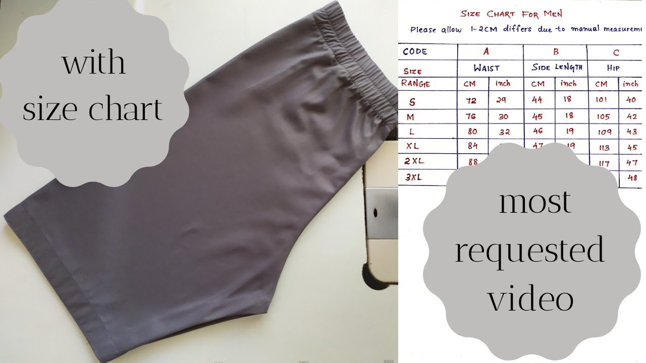 Download Men's Boxer Shorts (Trouser) Cutting And Stitching Tutorial  With Size Chart