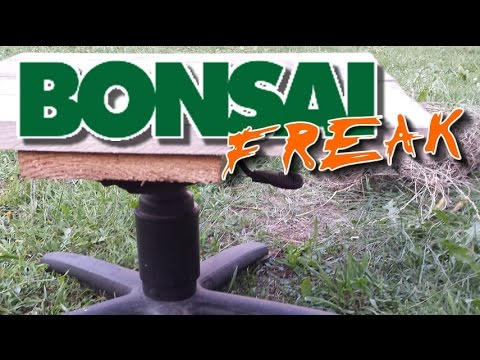 DIY bonsai turntable made of office chair parts