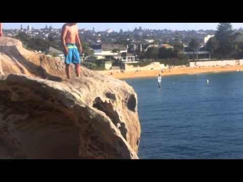 cliff jumping a the Gap in watson bay  cliff number 4 near camp cove NSW Sydney Australia