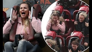 TOWIE's Georgia Kousoulou screams as she rides a roller coaster with Amber Turner at Thorpe Park