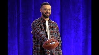 Timberlake on his Super Bowl halftime show, his son not playing football, and Tom Brady