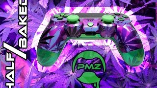 Half / Baked Edition Weed Camo Custom PS4 Controller Hand Airbrushed by ProModz.com