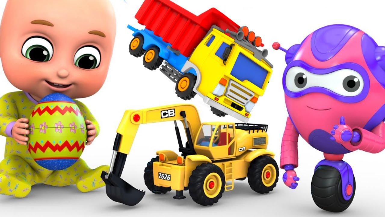 Kids Toys Easter Egg Big Crane Construction Truck