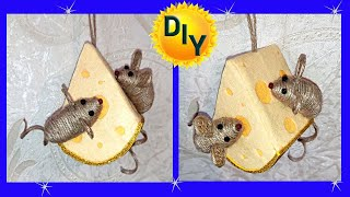 New Year's toy. Craft to school. Mouse on cheese.DIY / needlework. #NewYear #Christmas