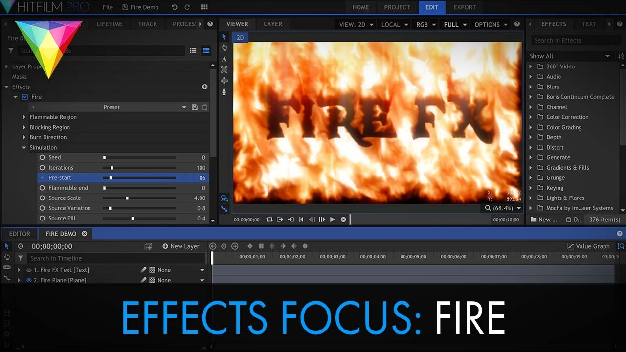 how to add effects in hitfilm