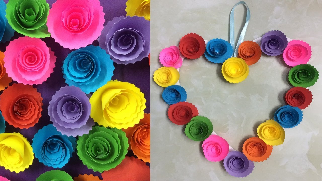 Diy Paper Rose Wall Hanging Easy Wall Decoration Ideas Simple Home Decor