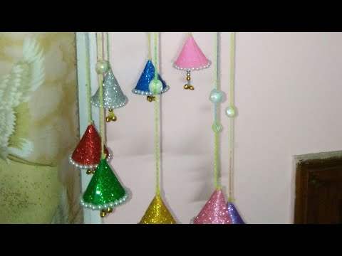 #Diy wind chime#wall hanging#How to make wind chime/wall hanging from newspaper & glitter sheets.160