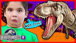 JURASSIC WORLD Dino Rivals VOLCANO Adventure! T-REX Dinosaur ESCAPE with HobbyKidsTV!