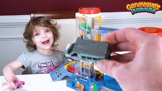 Genevieve teaches Colors while Playing with Tomica Toy Car playset!