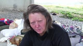 Atlanta homeless woman is dying under this bridge.