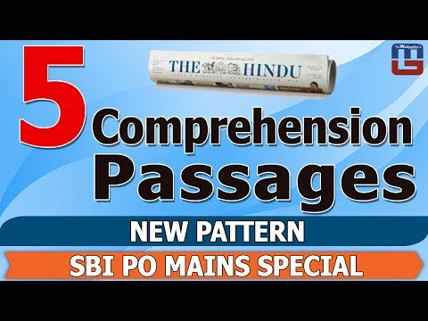 IMPORTANT COMPREHENSION PASSAGE | NEW PATTERN | ENGLISH | SBI PO MAINS SPECIAL