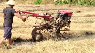 Cara membajak sawah dengan traktor dan proses pengerjaan nya