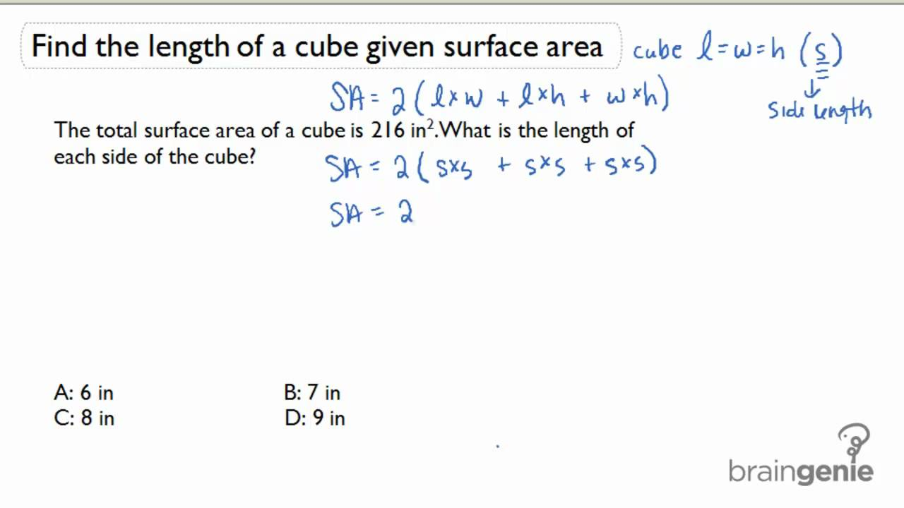 142 Find The Length Of A Cube Given Surface Area