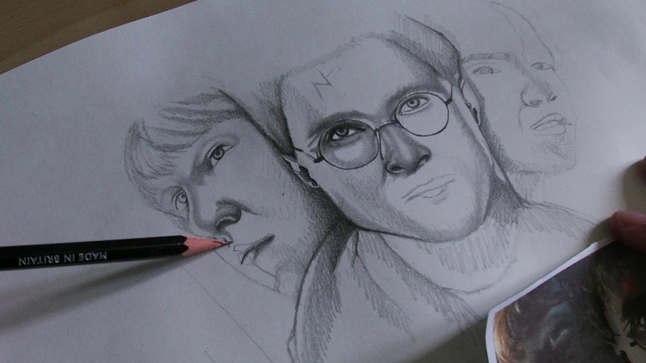 Disegno A Matita Harry Potter Hermione Ron Youtube
