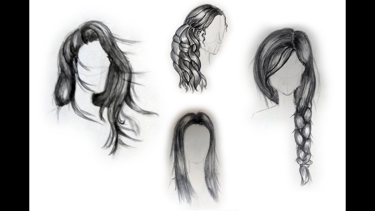 Hairstyles For Long Hair Drawing : How to draw female hairstyles - For beginners - YouTube