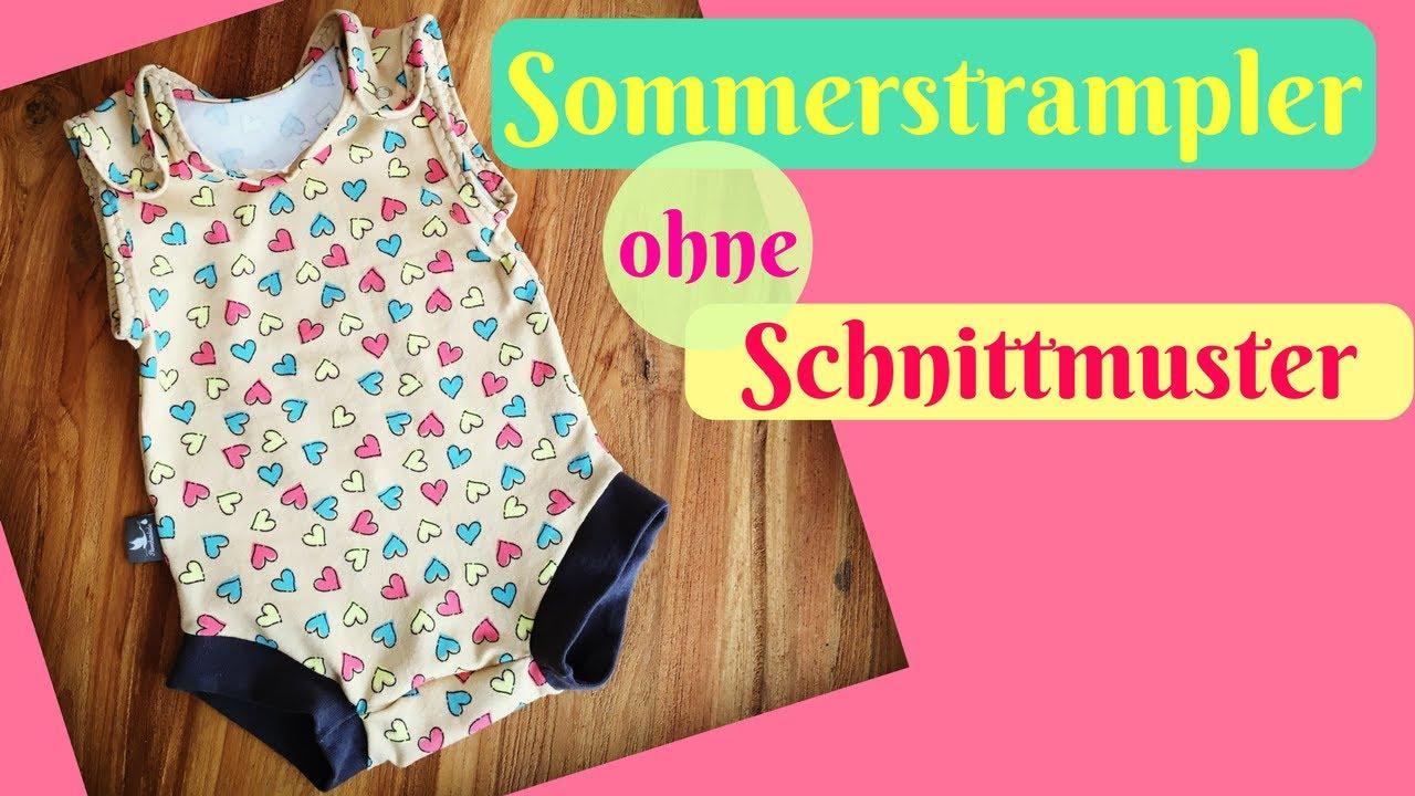 Sommer Strampler/ Strampelhose nähen OHNE Schnittmuster-Schritt für ...