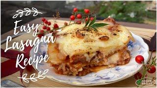EASY LASAGNA RECIPE  CHEESY &amp CREAMY  Recipe #: 42
