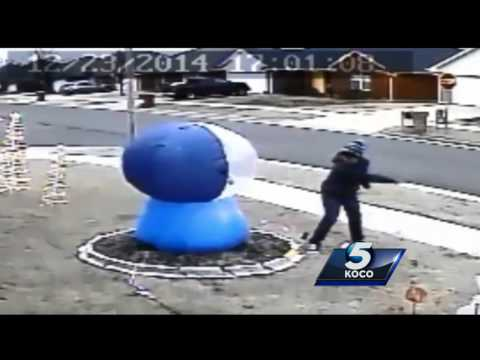Inflatable snow globe slasher caught on camera