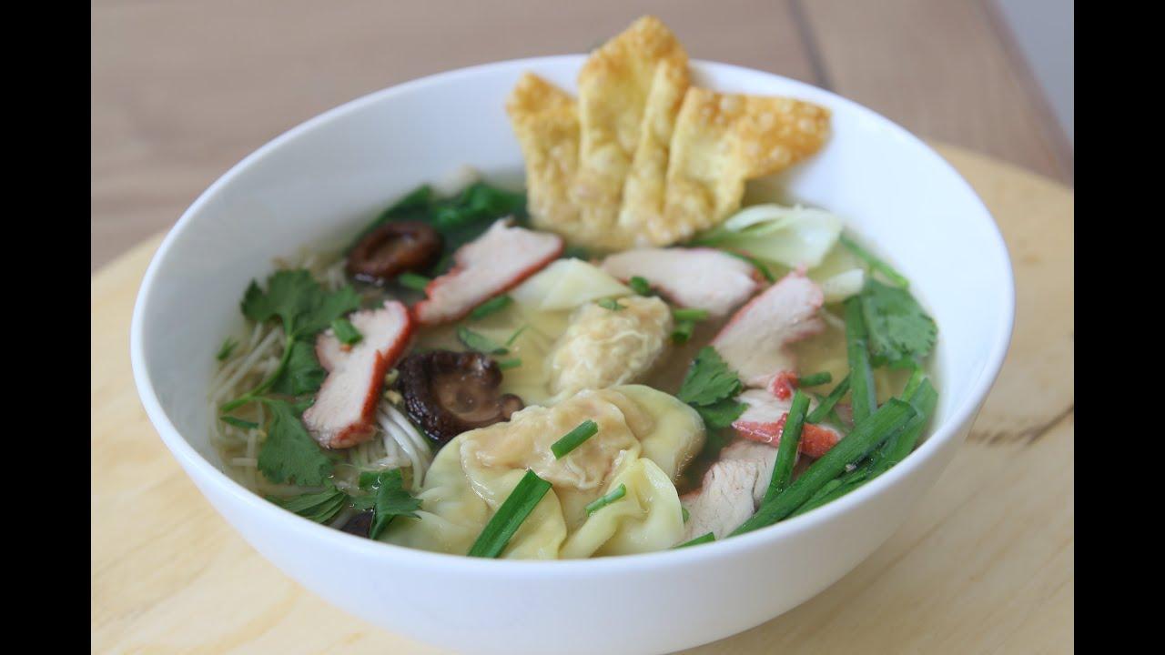 wonton noodle soup mi hoanh thanh  youtube