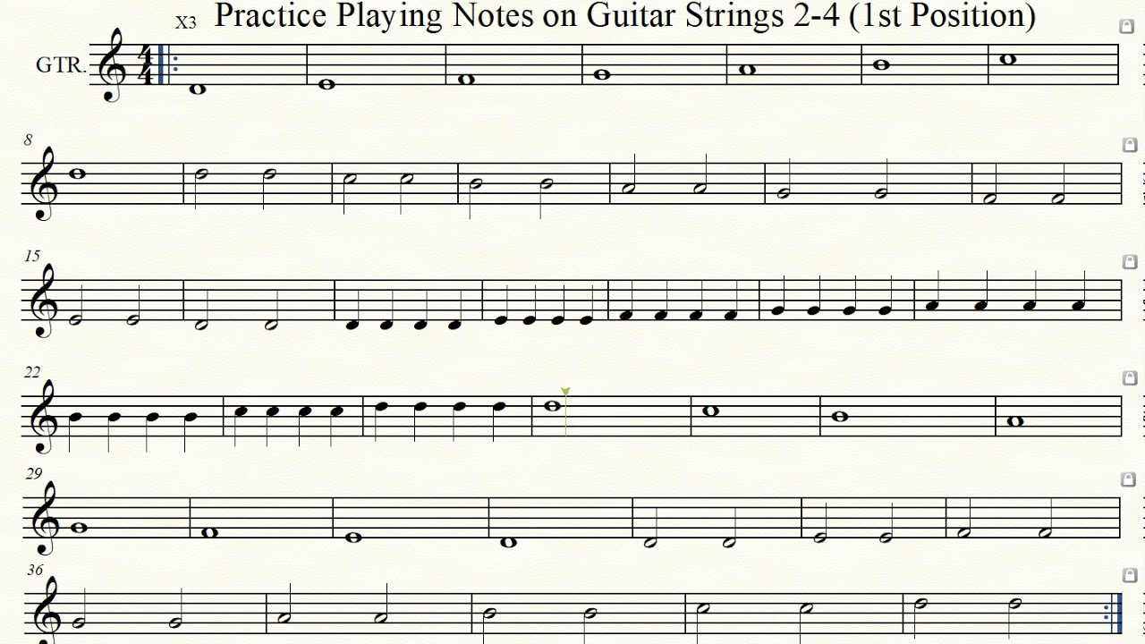 Practice Playing Notes On Guitar Strings 2 4 1st Position Youtube
