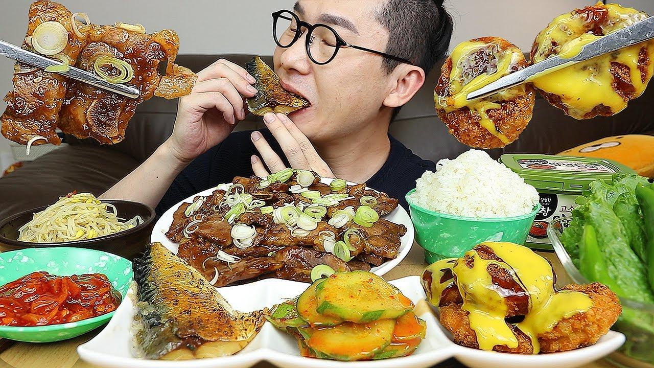 한식가즈아~! 돼지la갈비,꼬마돈까스,고등어구이,오징어젓갈,오이무침,콩나물무침 요리 먹방 Korean Home Made food MUKBANG