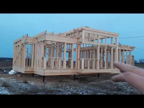 Дом 100м2 для постоянного проживания в стиле хай тек. Силовой каркас
