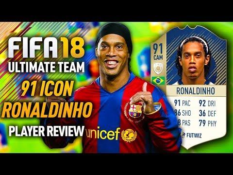 FIFA 18 ICON RONALDINHO (91) *SKILL KING* PLAYER REVIEW! FIFA 18 ULTIMATE TEAM!