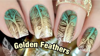 Golden Feathers Stamping Nail Art | Hit The Bottle Polishes & Polish Pickup May 2021