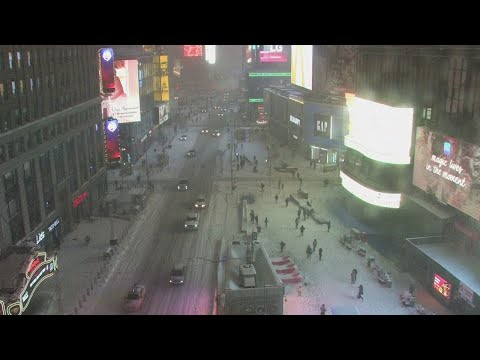 Winter Storm Moves Through New York City's Times Square   NBC News