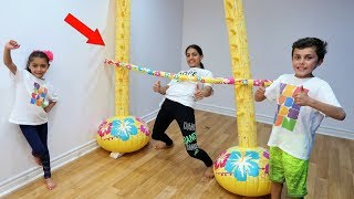 Kids Inflatable Limbo Challenge! family fun vlog video