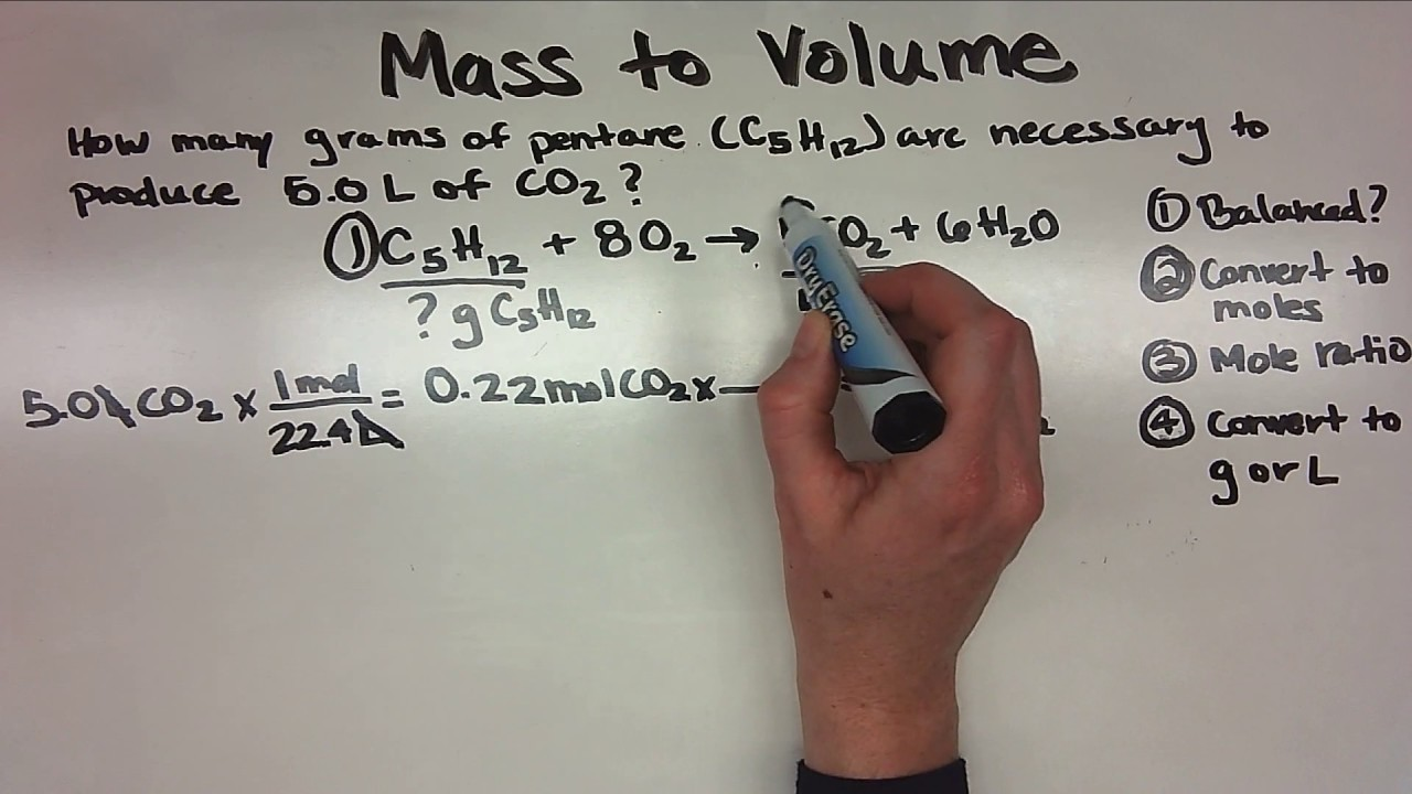 Stoichiometry Mass To Volume Youtube