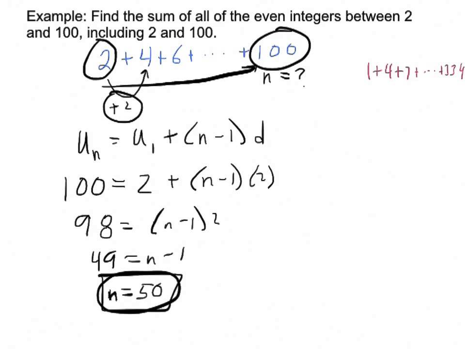 Arithmetic series – problems solutions exercise example formulas.