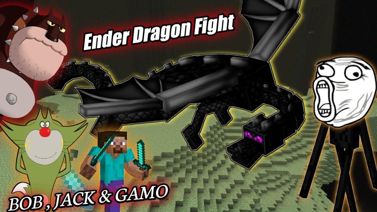 Ender dragon fight in Minecraft with Jack &Bob || Minecraft portal V.14