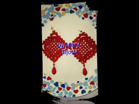 "Orecchini uncinetto Rossi"" ROMBOIDALI""-Crochet Red ""DIAMOND""earrings"