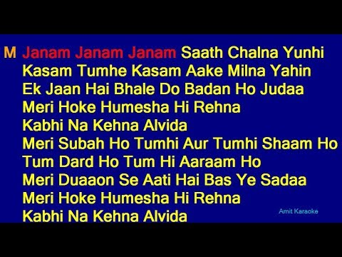 Janam Janam Janam Saath Chalna Yunhi - Arijit Singh Antara Mitra Duet Hindi Full Karaoke With Lyrics