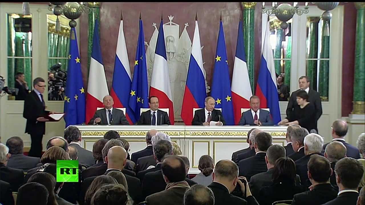 Совместная пресс-конференция Путина и Олланда
