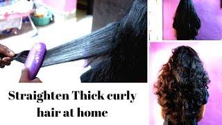 Straight Thick Curly hair using Philips hair straightener Hp 8318/00 | kerashine