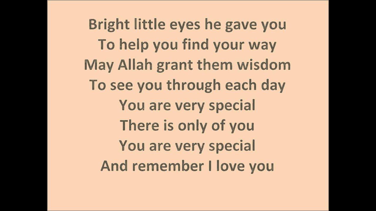 You are Very Special Zain Bhikha Lyrics - YouTube