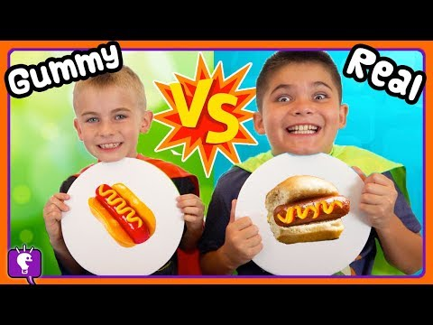 TINY GUMMY vs REAL! Who Wins The HobbyHeroes Challenge with HobbyKidsTV