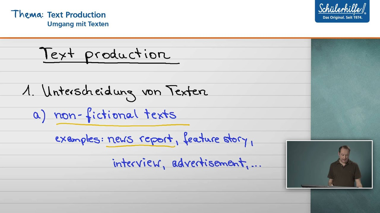 Text Production Umgang Mit Texten Englisch Schulerhilfe Lernvideo Youtube